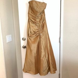 Gold Prom Bridesmaid Dress Strapless Size 12